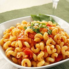 Cavatappi Amatriciana, a famous Carrabba's pasta dish. This is my vegetarian version of the tasty recipe.