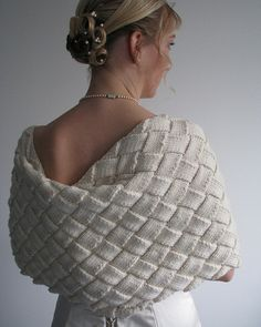 knitted merino entrelac shrug / cape