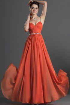 Une longueur en mousseline orange rez-de-ligne robes de bal
