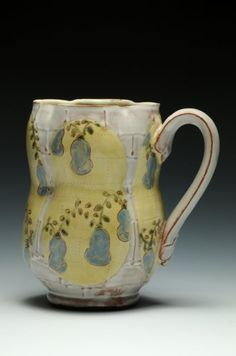 Benjamin Carter. Earthenware, painted slips, sgraffitto, slip trailing, 5 x 5 x 3.5 inches.