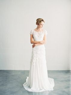 Alice lace wedding gown with short sleeves by Saint Isabel