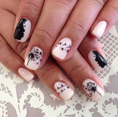 Let your imagination run wide by painting a detailed Dandelion inspired nail art. Use a simple white background and top it with a black nail polish to draw a person blowing away Dandelion petals as they travel from one nail to the other.