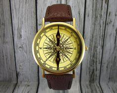 Vintage Compass Watch Leather Watch Ladies Watch by RedJuanShop