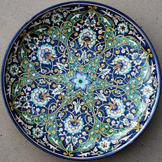 Blue: Ornate stoneware plate made in Uzbekistan