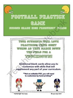 Football Sight Word Practice Game product from blackbird77 on TeachersNotebook.com