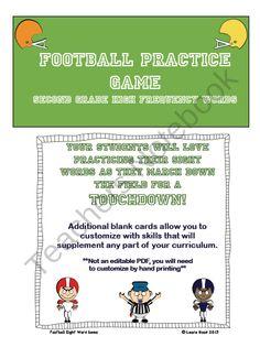 Football Sight Word Practice Game product from blackbird77 on TeachersNotebook.com