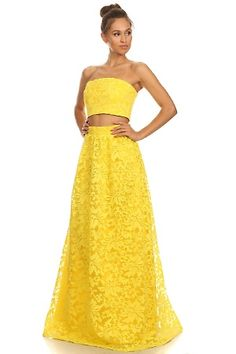 #Summersassy Laced Overlay Maxi Skirt with Matching Bandeau Crop Top Two Piece Set