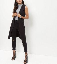 Black Crepe Tie Waist Sleeveless Blazer | New Look