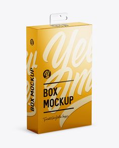 Metallic Paper Box with Hang Tab Mockup - Half Side View (high-angle shot)