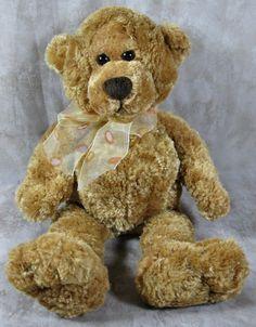 "Gund 13"" Golden Brown Plush Teddy Bear Stuffed Toy w/Shear Polka Dot Bow #GUND"