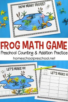 Preschoolers will enjoy playing this hands-on frog math game to help them practice counting and addition to ten. This fun math frog game is a fantastic addition to your spring homeschool lessons. #homeschoolprek #homeschooling #preschool #preschoolmath #freeprintables #preschoolfrogtheme #fisforfrog https://homeschoolpreschool.net/frog-math-game-counting/