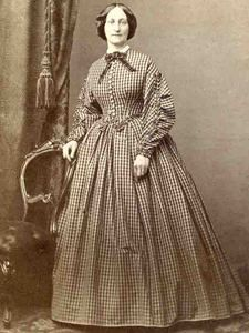 Checked dress of high, darted bodice, with double points. Front opening appears to have working buttonholes. Demi full sleeves narrow at wrist, self fabric puffing down sleeve length. Pleated skirt. Trim is self fabric ruching. Shown with collar, necktie, jewelry. EBAY