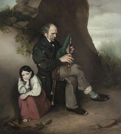 Attributed to Joseph Patrick Haverty RHA (1794-1864) The Limerick Piper (Patrick O'Brien) Oil on canvas. Previously on sale at Adam's. www.adams.ie