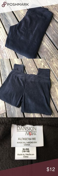 Danskin Now Black Fleece Leggings Very nice pair of black fleece leggings. 95% polyester and 5% spandex. Very soft! Great condition. Size XL. Waist measured flat 17 inches, inseam 25 inches.  PT248 LOC-9 Danskin Now Pants Leggings