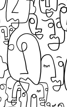 Large Face Line Drawing Wallpaper Mural &; Murals Wallpaper Large Face Line Drawing Wallpaper Mural &; Murals Wallpaper Aquarella gscheve Aquarell Create a white bedroom space with beautifully textured […] Drawing Room Bedroom Wallpaper White, Bedroom Black, White Bedrooms, Desenhos Tim Burton, Face Line Drawing, Drawing Faces, Drawing Wallpaper, Face Lines, Art Original