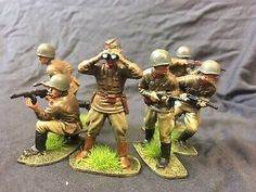 Airfix WWII Soviet Infantry With Officer 1:32 Scale,  Carefully Painted.  | eBay