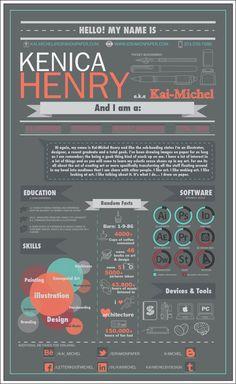 Resume infographic & Advice Infographic Resume by Kai-Michel Henry, via Behance. Image Description Infographic Resume by Kai-Michel Henry, via Cv Curriculum, Creative Curriculum, Cv Design, Resume Design, Graphic Design, Resume Cv, Resume Tips, Resume Ideas, Cv Original