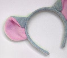 Light Gray Mouse or Rat Ears Headband