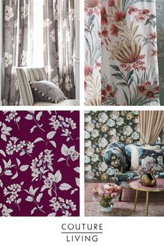 Floral curtains work magically in every room. Match with neutral tones and soft furnishings to master this fresh finished look. Click the link for more inspiration. Floral Curtains, Floral Fabric, Made To Measure Curtains, Curtain Fabric, Neutral Tones, Soft Furnishings, Blinds, Fabrics, Tapestry