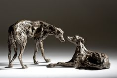 'Dominance II' - Two lurchers by Jane Shaw Sculptures www.janeshawsculpture.com