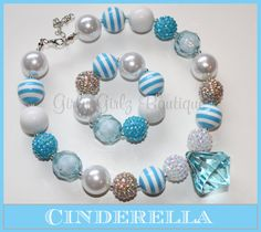 SALE SALE Cinderella Inspired Girls Chunky Bubblegum Necklace Set by GirlyGirlzBoutique12, $12.50