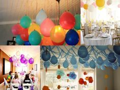 instead of using balloons with helium, blow up regular balloons and hang them upside down - cheaper than helium and still really festive and pretty!