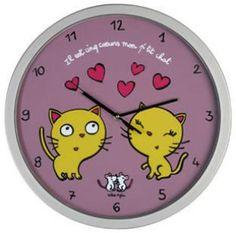 """Horloge """"Il est cinq coeurs mon p'tit chat"""" - DLP - Valérie Nylin"""