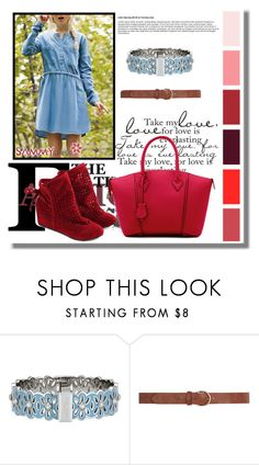 """""""Sammydress 37"""" by azra-90 ❤ liked on Polyvore featuring Henri Bendel, Dorothy Perkins, women's clothing, women, female, woman, misses, juniors, red and denim"""