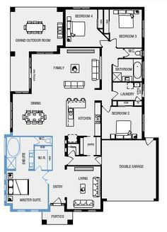 my ideal floor plan. Large master bedroom with ensuite and walk in robe, open plan living, 4 bedrooms. I guess I wouldn't really need the extra living area at the front but I'm not sure what else you'd put there.
