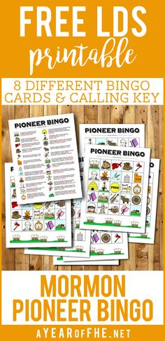 MORMON PIONEER BINGO // Check out this great freebie by A Year of FHE! It includes 8 different bingo cards and a callers key for Pioneer Day! The card is all hand-drawn and so CUTE! Pioneer Day Activities, Pioneer Games, Pioneer Trek, Pioneer Life, Pioneer Foods, Sunday Activities, Church Activities, Primary Activities, Primary Lessons