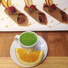 Crepe Trio and Wheatgrass Shot. #rawfood #rawvegan #taoorganics #cafebytao #northvan #northshore #northvancouver #vegan #organic #wheatfree