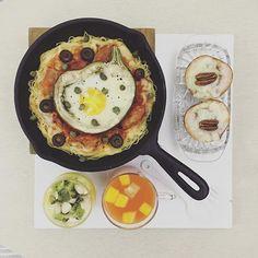 . good morning moooooonday :-}))) . #goodmorning #morning #breakfast #yummy #goodfood #instafood #onthetable  #homemade #foodie #foodstagram #igfood #foodphotography #foodphoto #yum #2eat2gether #S_S_iloveBreakfast #朝食 #早餐 #baking #烘培 #onepotpizzapasta #pizzapasta #pizzapasta #鐵鍋義大利麵披薩 #ピザを #スパゲティ .