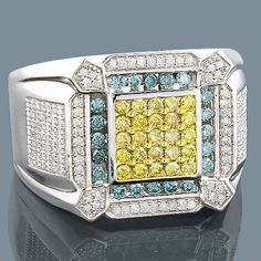 This luxurious 14K Diamond Mens Ring with blue yellow white diamonds weighs approximately 11 grams.