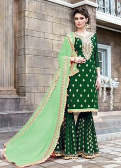 Buy Elegant Green Colored Party Wear Embroidered Georgette Palazzo Suit at Rs. Get latest Palazzo suit at Peachmode. Sharara Suit, Anarkali Suits, Punjabi Suits, Designer Salwar Suits, Designer Dresses, Designer Wear, Latest Traditional Dresses, Fancy Suit, Party Kleidung