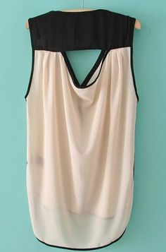 Beige V Neck Sleeveless Buttons Dipped Hem Blouse pictures