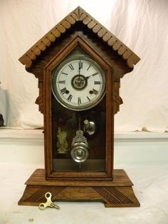 ANTIQUE AMERICAN ANSONIA 8 DAY AMERICAN PARLOR CLOCK WITH ALARM. CIRCA 1907. 8 DAY TIME AND STRIKE SIGNED ANSONIA MOVEMENT. PROFESSIONALLY OILED AND CLEANED. THIS SERVICE ALONE WOULD COST YOU $150 TO