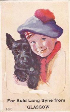 Vintage Glasgow Scottie dog New Year postcard. Vintage Dog, Vintage Children, Vintage Greeting Cards, Vintage Postcards, Vintage Pictures, Dog Pictures, Le Clan, Scottie Dogs, Scottish Terriers