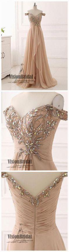 Off The Shoulder V-Neck Zipper Up Beading Rhinestone Pleating Floor Length Prom Dress, Charming Prom Dress, VB0366 #promdress