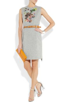PREEN Embroidered wool-felt dress  £975 Channel the runway for work or play with pinned-back hair and bright suede accessories.