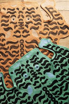 Slide View: 4: Embroidered Tiger Rug - the green one would be fun layered over a sisal rug