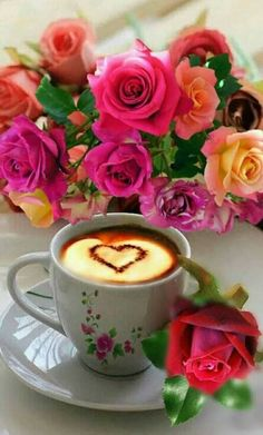 Good Morning my Friend Good Morning Images Flowers, Good Morning Roses, Sweet Coffee, I Love Coffee, Black Coffee, Gif Café, Good Morning Coffee Gif, Rose Flower Wallpaper, Coffee Heart