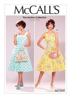 Vintage Dresses McCall's Sewing Pattern Misses' Lined Flared Dresses with - Close fitting lined dresses have neckline variations and a petticoat. A: Contrast band and straps. Vintage Outfits, Vintage 1950s Dresses, Retro Dress, Vintage Fashion, Edwardian Fashion, Fit And Flare, Fit N Flare Dress, 1950s Style, Vintage Dress Patterns