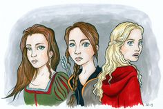 Snow White, Katniss Everdeen and Red Riding Hood. Painted with markers and pigmentliners. Snowwhite And The Huntsman, Illustration Art, Illustrations, Katniss Everdeen, Amanda Seyfried, Catching Fire, Red Riding Hood, Jennifer Lawrence, Hunger Games