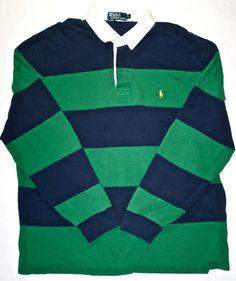 Vintage Ralph Lauren Rugby Striped Polo Shirt available at vintagemensgoods.bigcartel.com