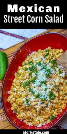 This bright and zesty Mexican corn salad is basically deconstructed Mexican street corn off the cob. It combines a flavorful combination of corn, cotija cheese, and a lime/mayonnaise dressing. You can serve it hot or cold. Make this salad to compliment your next Mexican meal. Corn Salad Recipes, Best Salad Recipes, Corn Salads, Salad Dressing Recipes, Easy Salads, Healthy Recipes, Food Tips, Food Hacks, Food Ideas