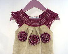 Vestido de lino orgánico túnica vestido del ganchillo de la