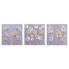 Flower Canvas Art  Textured Purple Paintings Set of by Amborela