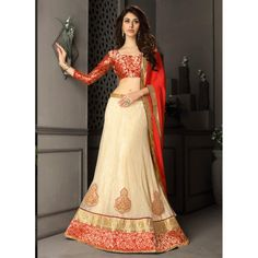 Gota Silk Cream Lehenga Choli Dress Material - 67638