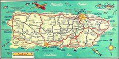 PUERTO RICO map print 10x20 photograph teal red  San Juan Ponce Arecibo Caribbean  beach house retro on Etsy, $66.00