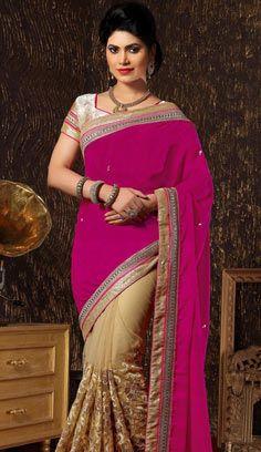 Designer Sarees, Net Saree, Saree Look, Indian Sarees Online, Blouse Designs, Pink Color, Saree Sale, Sari, Half Saree
